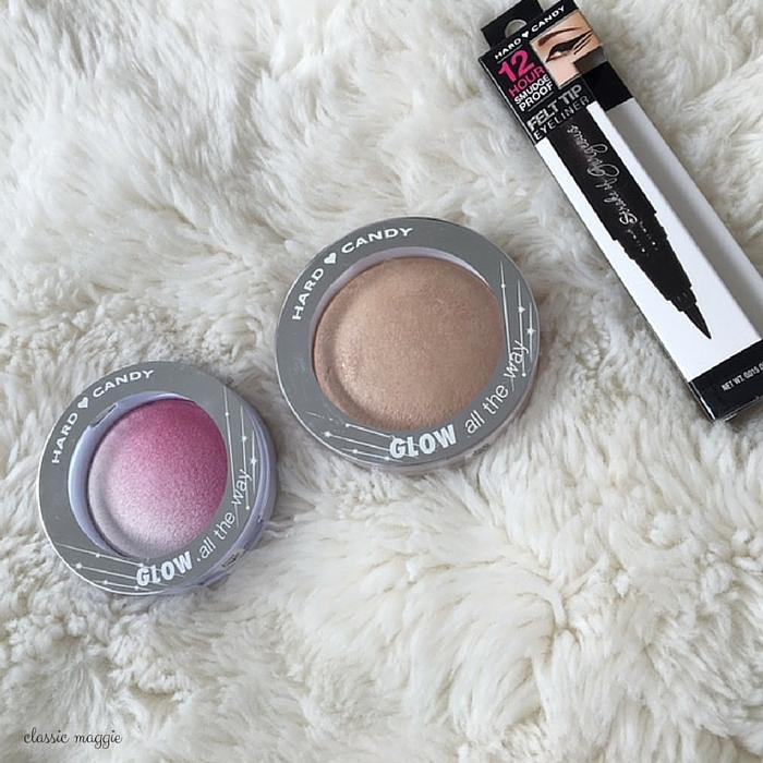 drugstore makeup - hard candy tiki bronzer, punch blush, stroke of genius eyeliner